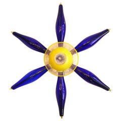 Blue and Yellow Murano Glass Star Shape Sconce