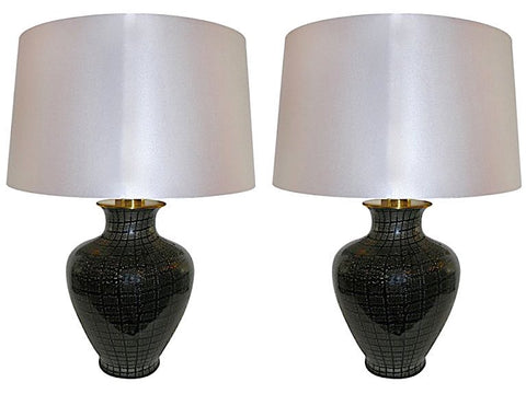 VeArt 1960s Black Glass Lamps with Silver Speckles