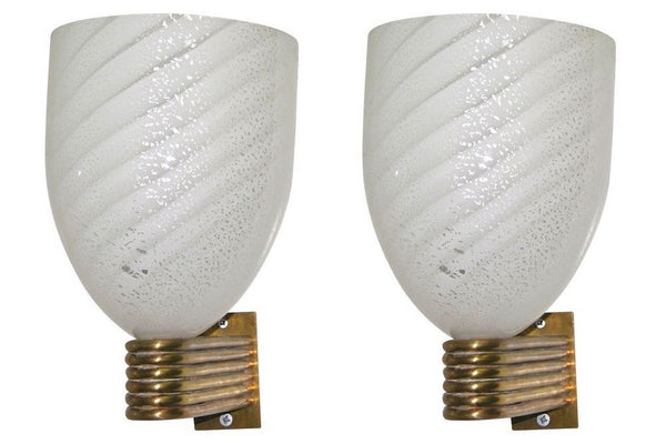 Mazzega Art Deco Design White Silver Murano Glass Bowl Sconces