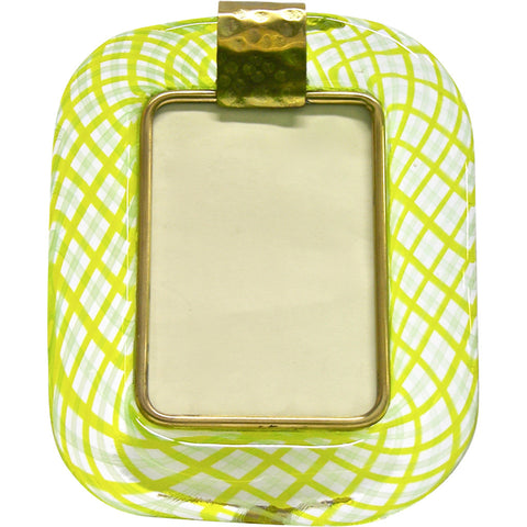 Venini Murano Glass Photo Frame Yellow Green