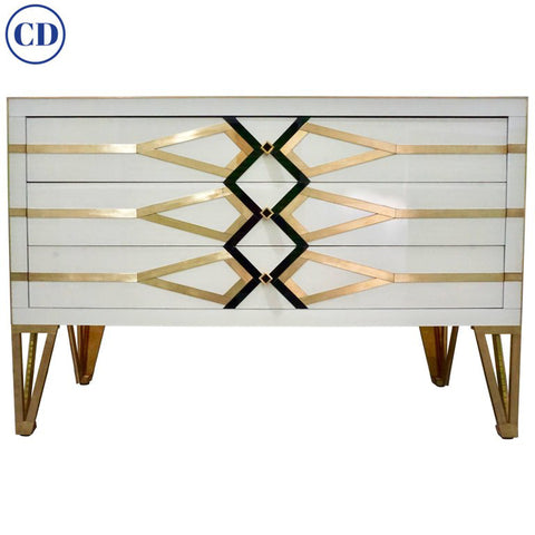 Contemporary Italian Design Gold Brass, Black and Cream White Three-Drawer Chest