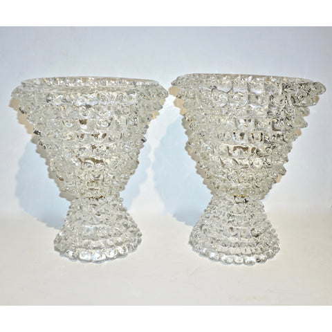 Italian Contemporary Hand Craft Pair of Crystal Rostrato Murano Glass Table Lamps