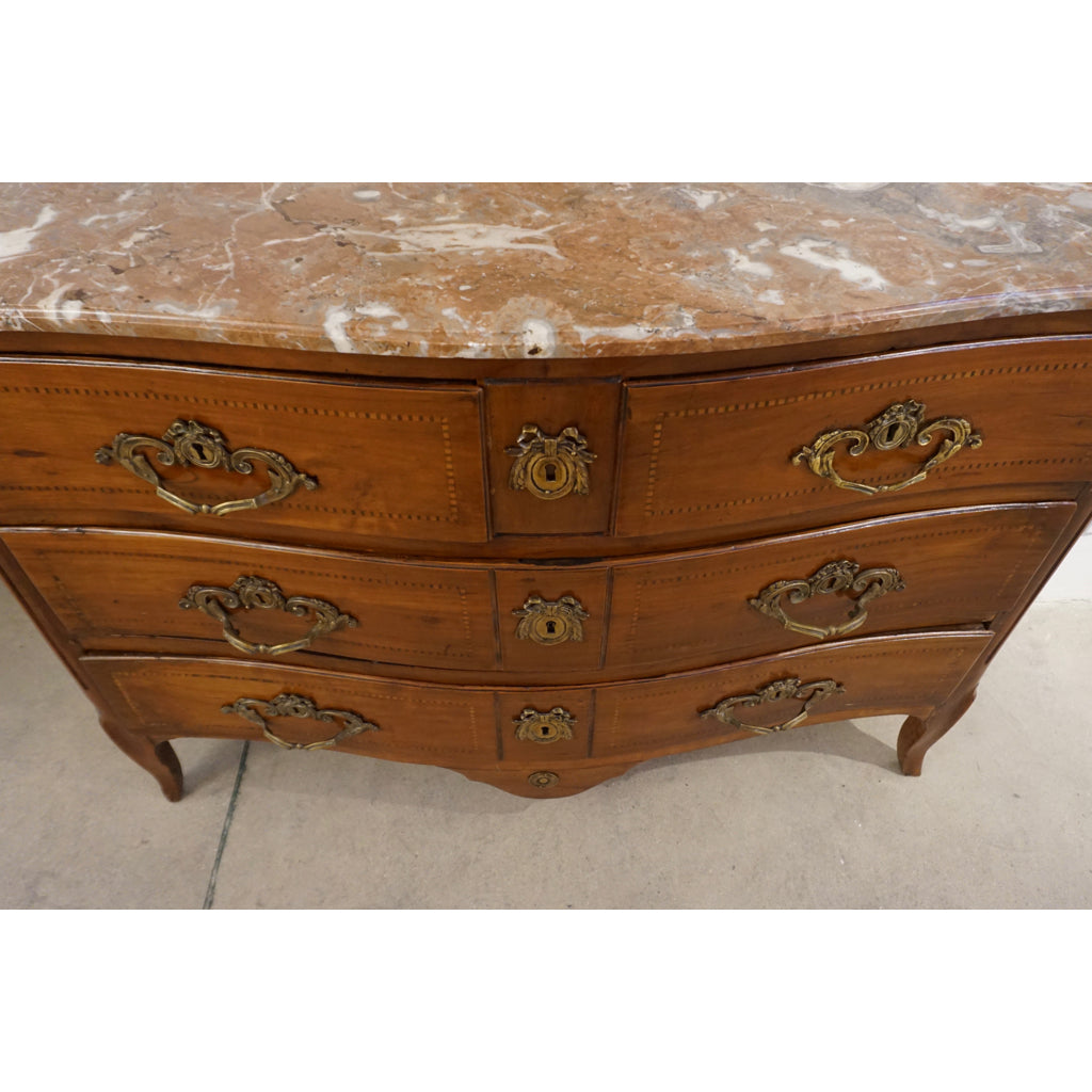 1770s Bow Front French Provincial Marquetry Commode in Solid Walnut & Marble Top