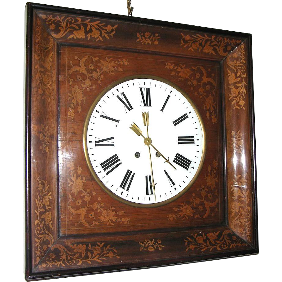 1830s French Charles X Inlaid Wall Clock - Cosulich Interiors & Antiques