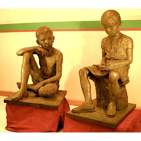 1930s Antique Lifesize Brother and Sister Sculptures in Bronze Finish