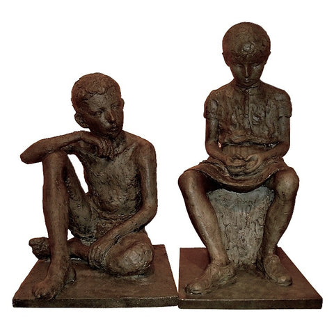 1930s Antique Lifesize Brother and Sister Sculptures in Bronze Finish - Cosulich Interiors & Antiques