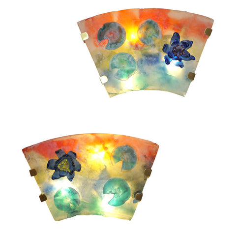 1950s Cenedese Italian Pair of Orange Blue Green Scavo Murano Glass Sconces