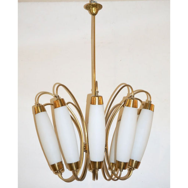 1950s Italian Vintage Stilnovo Style White Glass 10-light Brass Chandelier - Cosulich Interiors & Antiques