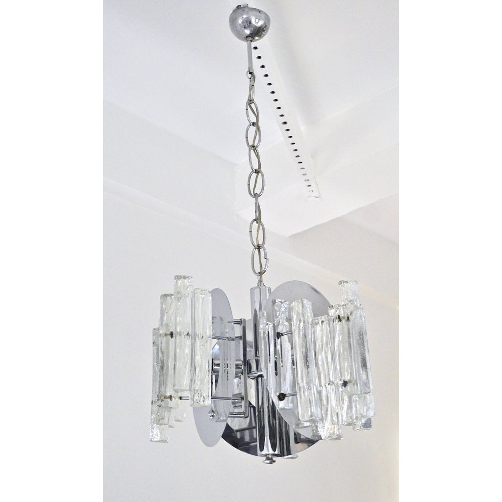 Salviati 1950 Italian Sculptural Modern Nickel Crystal Clear Glass Chandelier