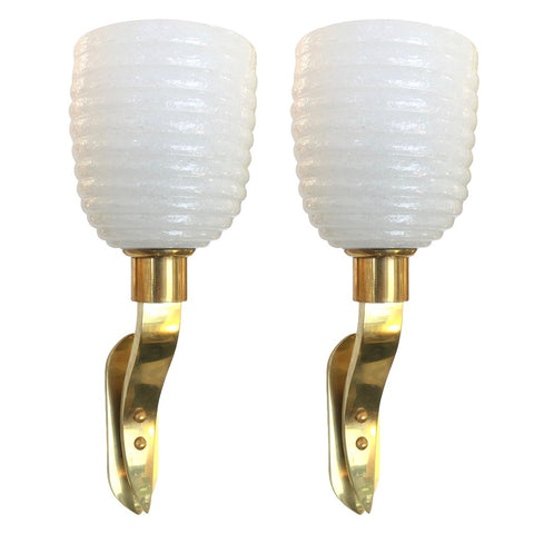 1960s Italian Pair of Art Deco Design Gold and White Murano Glass Sconces - Cosulich Interiors & Antiques