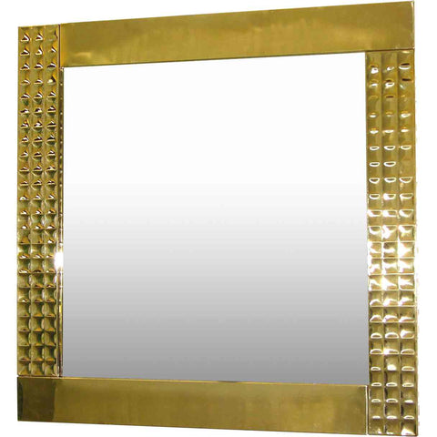 Italian 1970s Vintage Brass Square Mirror with Modern Gold Jewel-Like Detail - Cosulich Interiors & Antiques
