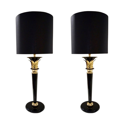 1970 Italian Hollywood Regency Pair of Black Lacquered and Gold Leaf-Motif Lamps