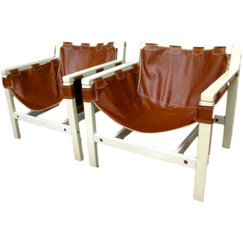 1970s Italian Design Pair of Safari Brown Leather and White Lacquered Armchairs by Karl Hauner