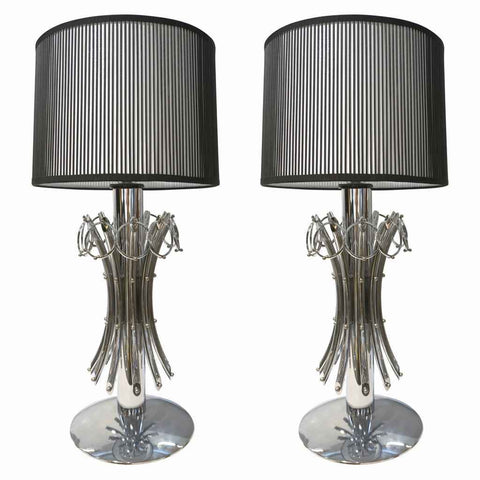 1970s Italian Vintage Tall Pair of Organic Nickel Table Lamps with Pendant Rings - Cosulich Interiors & Antiques