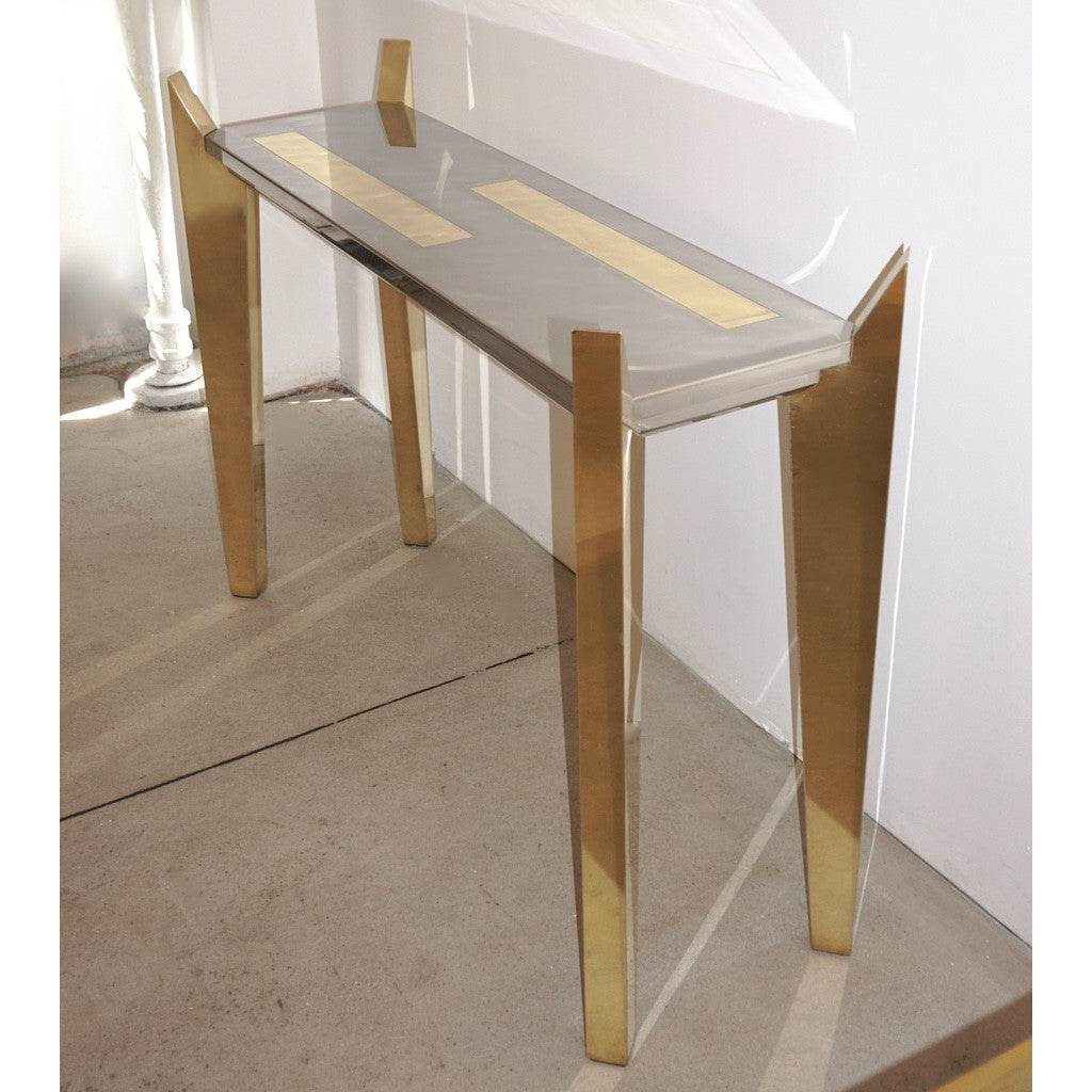 1970s MetalArt Vintage Italian Brass and Nickel Wood Console of Modern Design