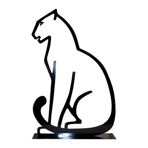 1980 Italian Minimalist Design Black Lacquered Iron Panther Silhouette Sculpture