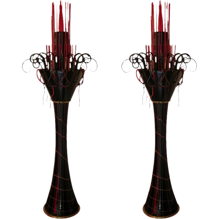 1980s One-of-a-Kind Red and Black Murano Glass Pair of Floor Lamps - Cosulich Interiors & Antiques