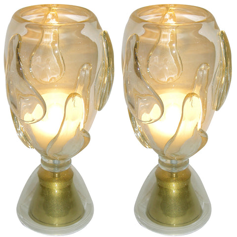 Constantini 1980s Italian Pair of Modern Brass and Gold Murano Glass Lamps - Cosulich Interiors & Antiques