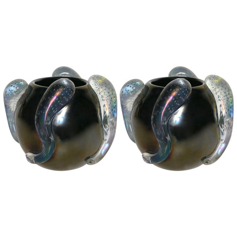 Costantini Italian Pair of Sculpture Iridescent Black Murano Glass Round Vases - Cosulich Interiors & Antiques