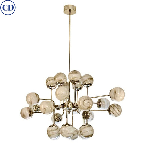 Bespoke Italian Modern 24-Light Alabaster Murano Glass Custom Nickel Chandelier