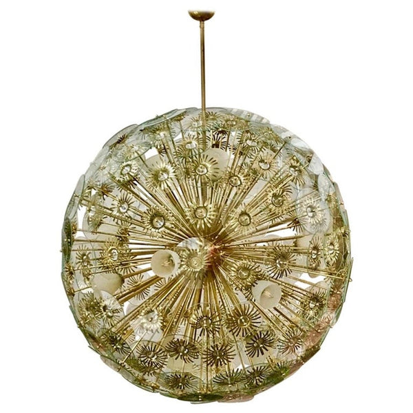Contemporary Italian Custom Brass and Glass Flower Organic Sputnik Chandelier