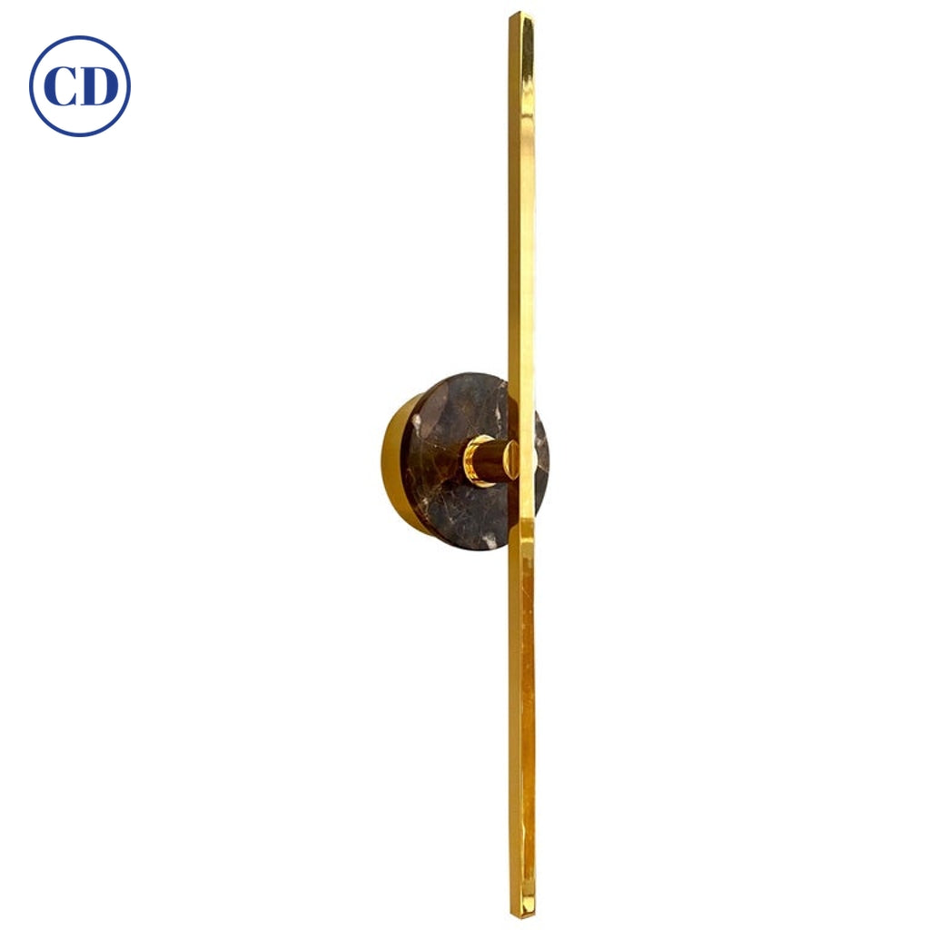Bespoke Italian Minimalist Brown Marble Satin Brass Vertical / Horizontal Sconce