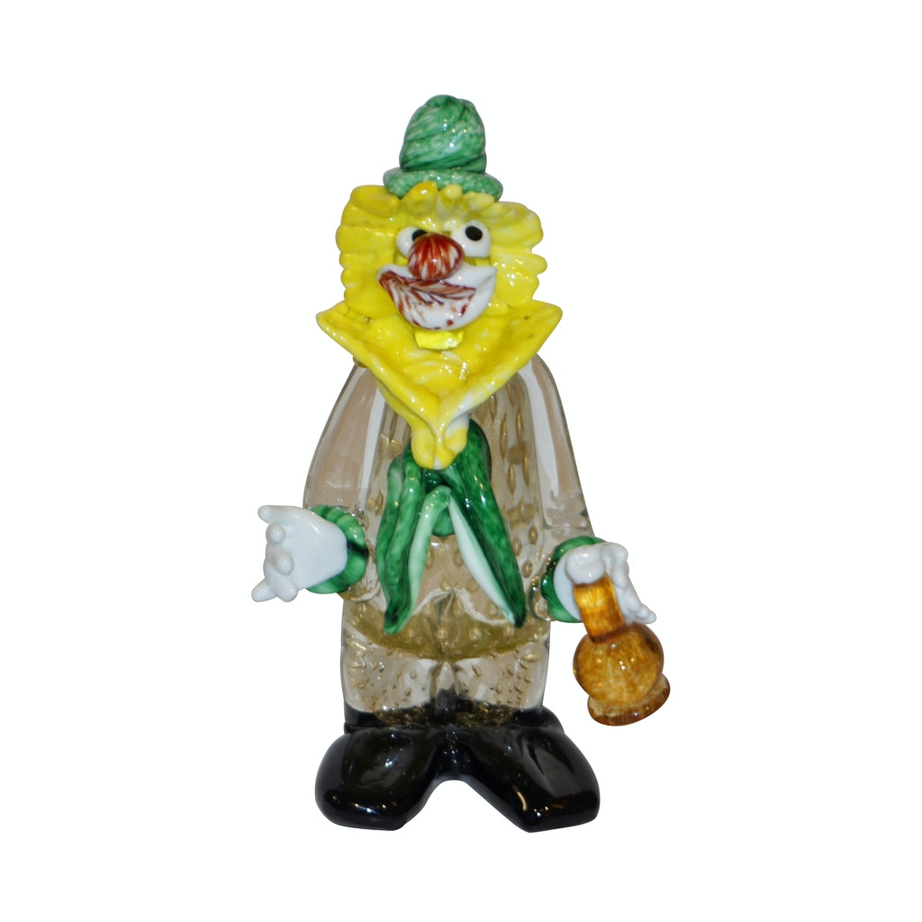 Modern Italian Yellow Black Murano Glass Clown Sculpture with Bottle & Green Tie