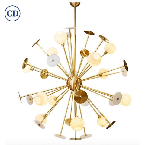 Modern Italian Alabaster Satin Brass Space Age Style 12-Light Sputnik Chandelier