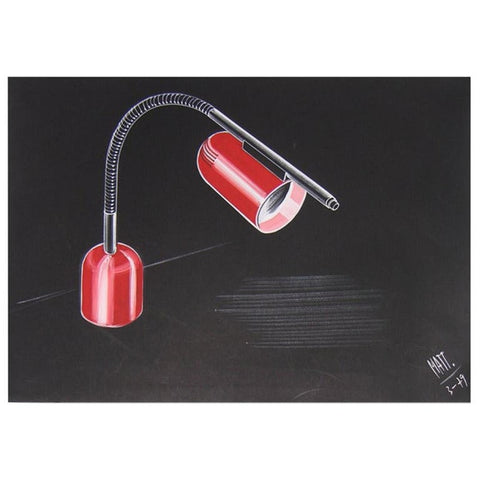 1979 Italian Design Drawing for a Desk Light Project by Luciano Mattioli