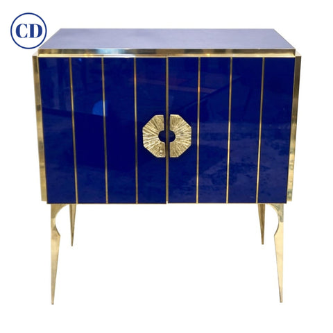 Contemporary Italian Custom Art Deco Style Royal Blue Glass Modern Cabinet /Bar
