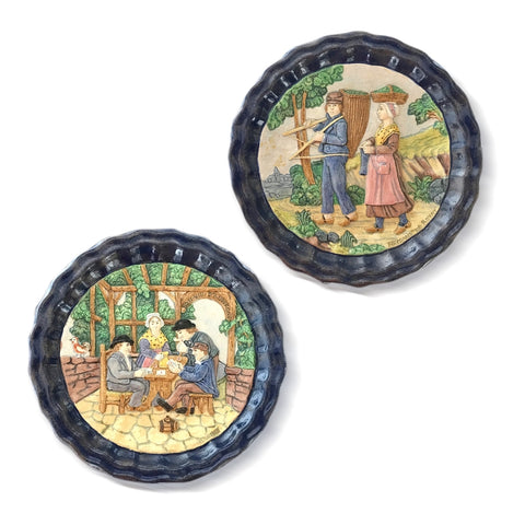 1880 French Country Pair of Navy Blue Edged Folk Art Majolica Decorative Plates