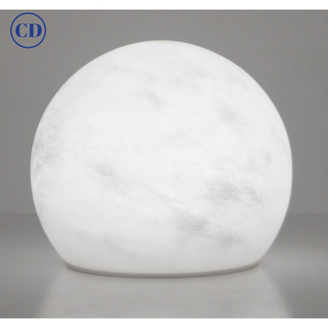 Bespoke Italian Minimalist White Alabaster Moon Wireless Round Table/Desk Lamp