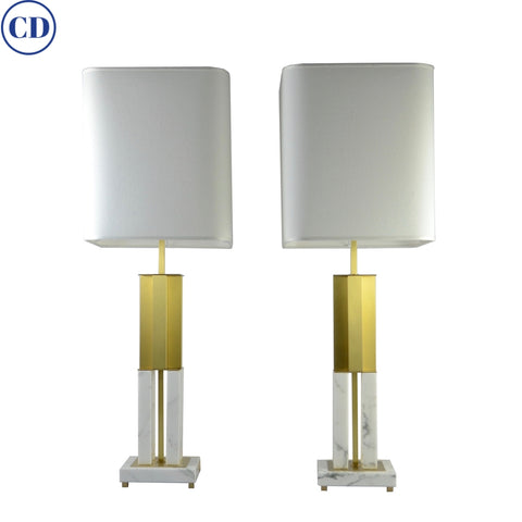 Italian Pair Art Deco Urban Design White Marble Satin Brass Empire Table Lamps