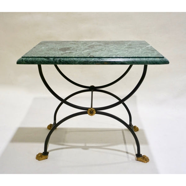 1950s Italian Antique Rustic Gold & Black Iron Green Marble Gueridon Sofa Table