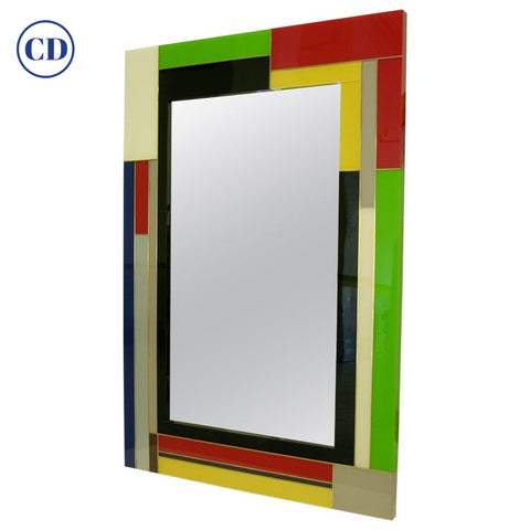 Contemporary Italian Mondrian Decor Blue Green Yellow White Black Glass Mirror