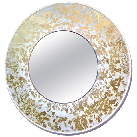 Contemporary Italian Organic Modern Ivory White and Gold Leaf Round Lit Wall Mirror