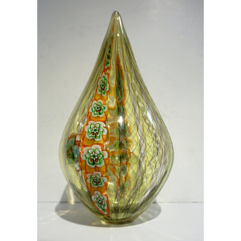 F. Tagliapietra Italian Green Yellow Orange Murano Glass Drop Sculpture Vase