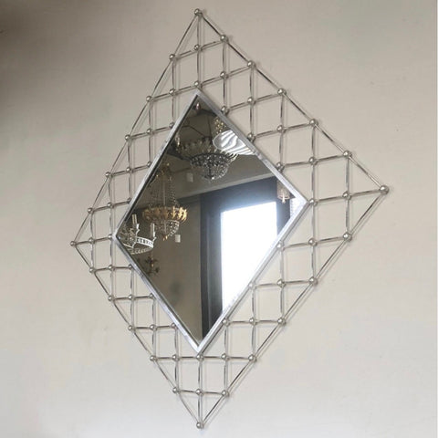 Italian Modern Industrial Home Interior Design Criss Cross Fretwork Iron Mirror