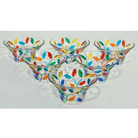 Colleoni Modern Set of 6 Crystal Murano Glass Cups / Bowls with Colorful Leaves