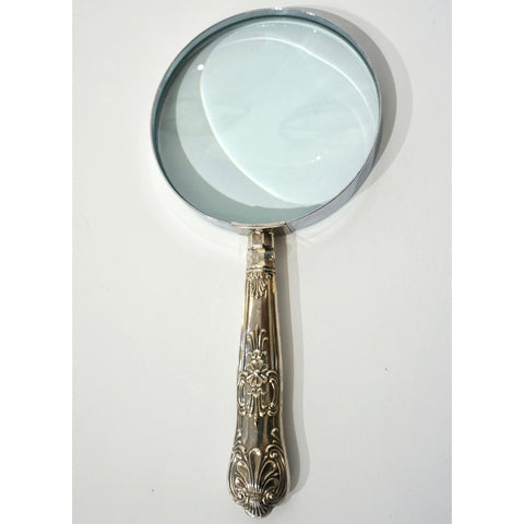 English Art Nouveau Sheffield Sterling Silver Mounted Large Magnifying Glass