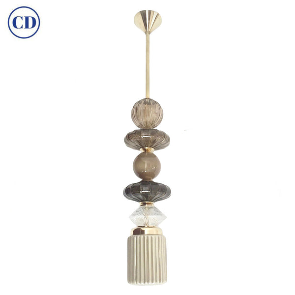 Contemporary Customizable Taupe Gold Ivory White Murano Glass Pendant Chandelier