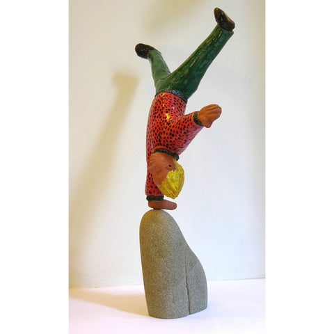 Acrobat Sculpture Terra Cotta Figure by the Italian Artist Ginestroni