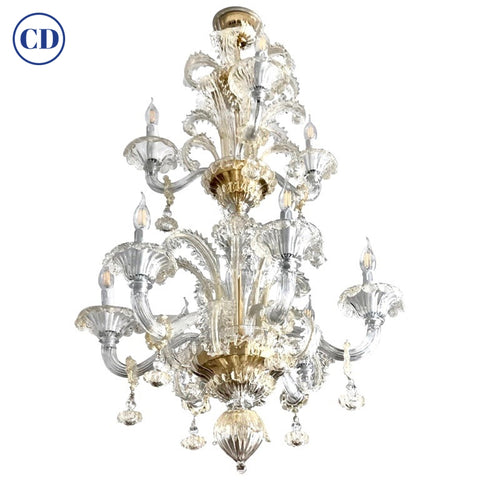 Venetian Baroque Style 9-Light Crystal Pure Gold Murano Glass Modern Chandelier
