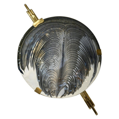Art Deco Style Monumental Italian Black Gray White Murano Glass Flush/Wall Light