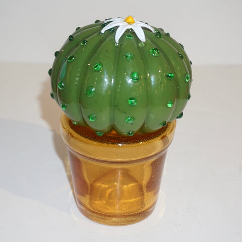 1990s Vintage Italian Green Murano Glass Small Cactus Plant with White Flower