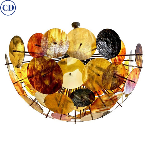 Bespoke Italian Amber Orange Brown Murano Glass Bronze Finish Sputnik Flushmount