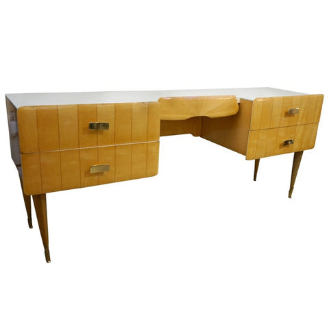 1950s Pier Luigi Colli Vintage Italian Design Cream & Honey Ashwood Modern Desk