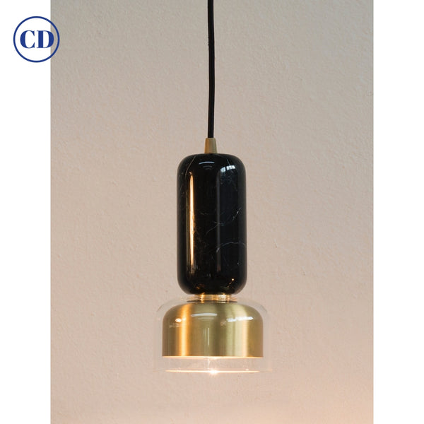 E. Elizarova for Matlight Italian Black Marble Glass and Brass Pendant Light