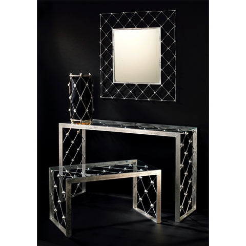 Italian Modern Industrial Design Criss Cross Fretwork Iron Console / Hall Table
