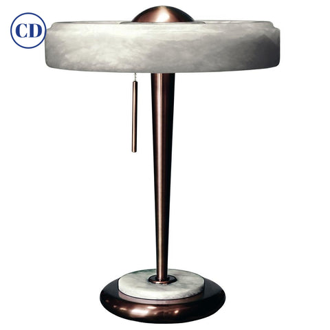 Bespoke Art Deco Design Italian White Alabaster & Bronze Color Round Table Lamp